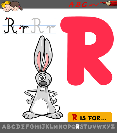 Educational Cartoon Illustration of Letter R from Alphabet with Rabbit Animal Character for Children Illustration
