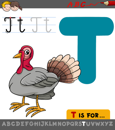 Educational Cartoon Illustration of Letter T from Alphabet with Turkey Bird for Children Illustration