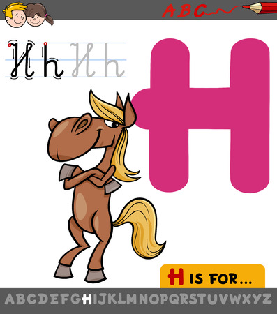 Educational Cartoon Illustration of Letter H from Alphabet with Horse Animal Character for Children
