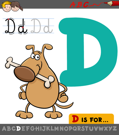 Educational Cartoon Illustration of Letter D from Alphabet with Dog Animal Character for Children