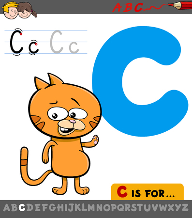 Educational Cartoon Illustration of Letter C from Alphabet with Cat Animal Character for Children Illustration