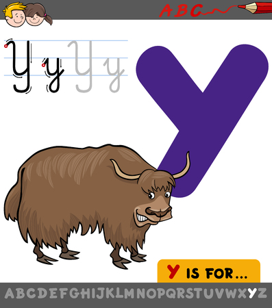 Educational Cartoon Illustration of Letter Y from Alphabet with Yak Animal Character for Children