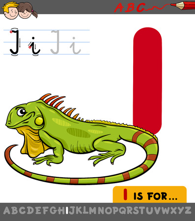 Educational Cartoon Illustration of Letter I from Alphabet with Iguana Animal Character for Children