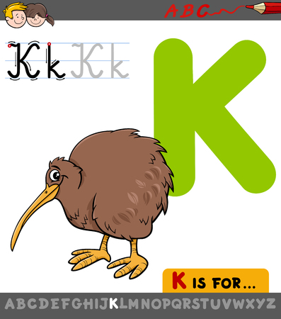 Educational Cartoon Illustration of Letter K from Alphabet with Kiwi Bird for Children