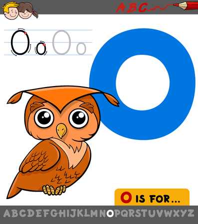 Educational Cartoon Illustration of Letter O from Alphabet with Owl Bird for Children Illustration