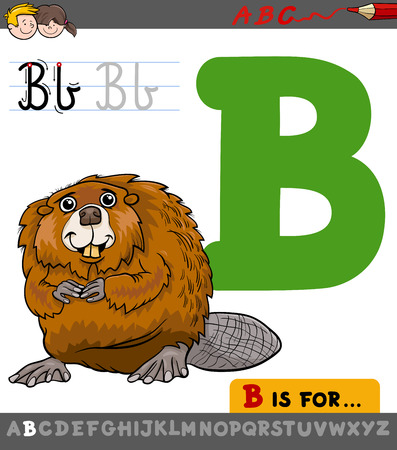 Educational Cartoon Illustration of Letter B from Alphabet with Beaver Animal Character for Children Illustration