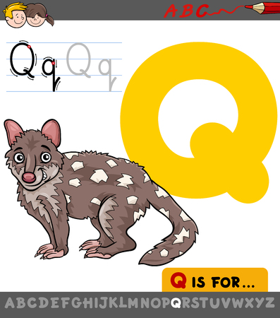 Educational Cartoon Illustration of Letter Q from Alphabet with Quoll Animal Character for Children Illustration
