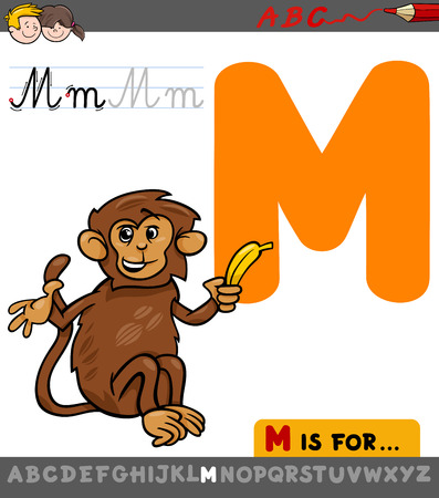 Educational Cartoon Illustration of Letter M from Alphabet with Monkey Animal Character for Children Illustration