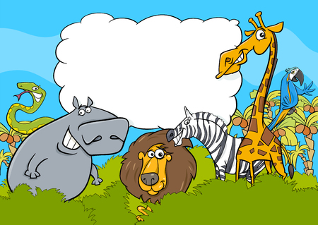 Cartoon Illustration of Wild Animal Characters with Blank Cloud Illustration
