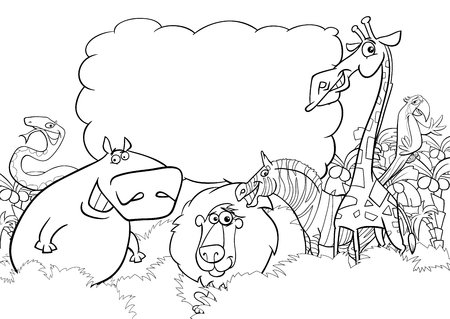 Black and White Cartoon Illustration of Wild Animal Characters with Blank Cloud Coloring Page