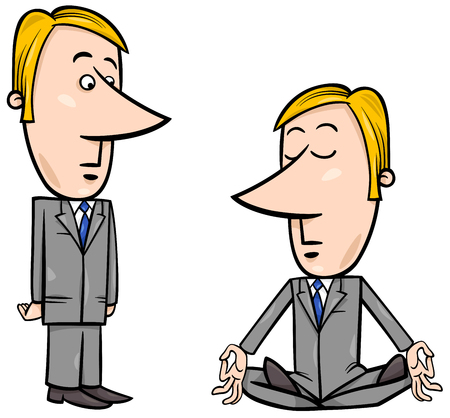 chillout: Concept Cartoon Illustration of Meditating Businessman and Surprised Manager