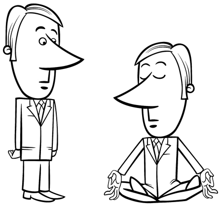 chillout: Black and White Concept Cartoon Illustration of Meditating Businessman and Surprised Manager