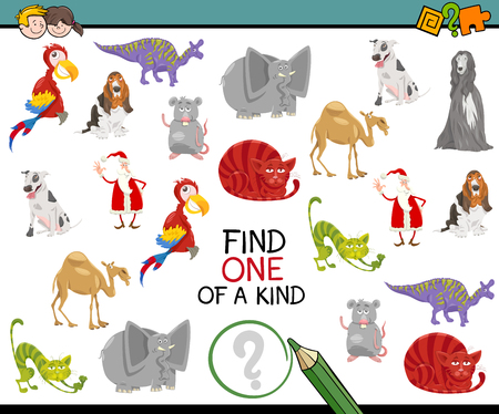 Cartoon Illustration of Educational Activity of Finding One of a Kind for Preschool Children Illustration