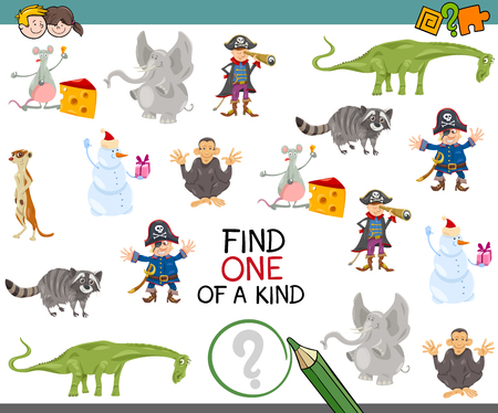 exam: Cartoon Illustration of Educational Game of Finding One of a Kind for Children