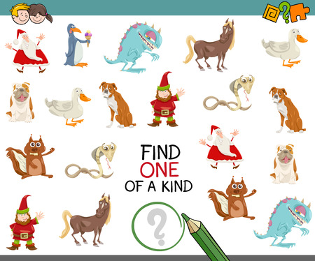 one of a kind: Cartoon Illustration of Find One of a Kind Educational Activity for Children Illustration