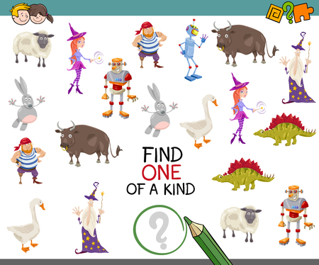 one of a kind: Cartoon illustration of educational activity of Find One of a Kind Game for preschool children.