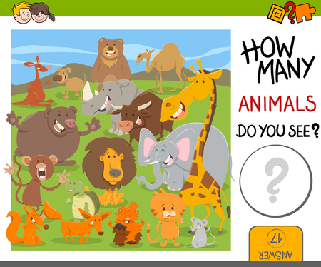 Cartoon Illustration of Educational Counting Activity for Children with Cute Animal Characters Illustration