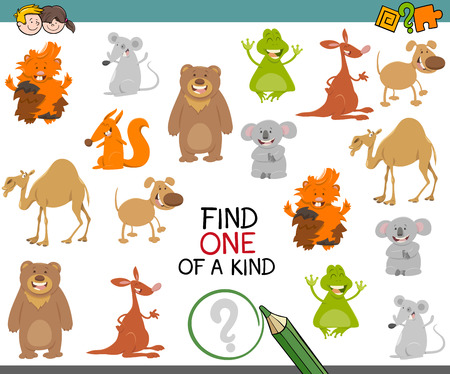 Cartoon Illustration of Find One of a Kind Educational Activity Game for Children with Animal Characters