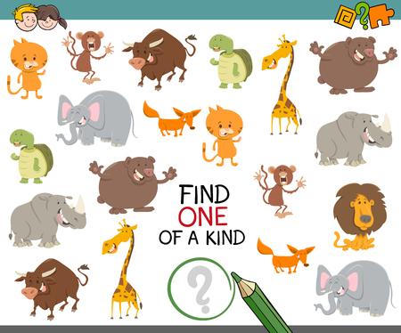 one of a kind: Cartoon Illustration of Find One of a Kind Educational Activity Game for Preschool Children with Animals Illustration