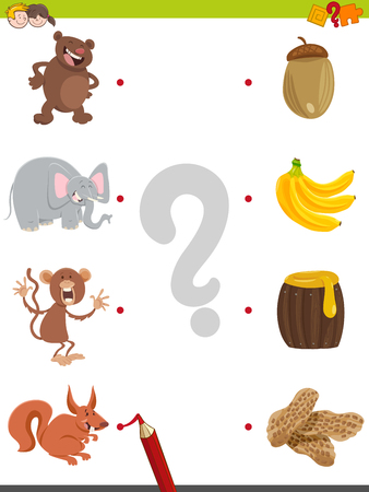 correspond: Cartoon Illustration of Education Pictures Matching Game for Children with Animal Characters and their Favorite Food