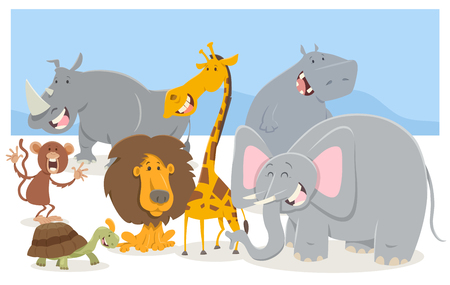 Cartoon Illustration of Safari Animal Characters Group