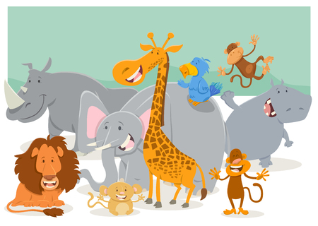 safari animal: Cartoon Illustration of Safari Animal Characters Group