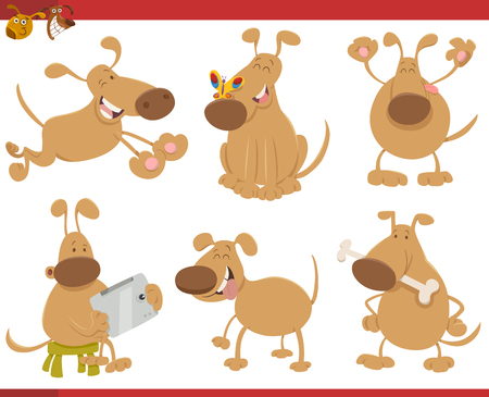 cute dog: Cartoon Illustration of Cute Dog or Puppy Pet Characters Set