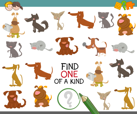 one animal: Cartoon Illustration of Find One of a Kind learning Activity Game for Preschool Kids with Dogs Animal Characters. Illustration