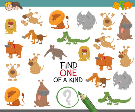 Cartoon Illustration of Find One of a Kind Educational Activity Game for Preschool Kids with Cute Animal Characters