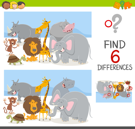 safari animal: Cartoon Illustration of Spot the Differences Educational Game for Children with Safari Animal Characters