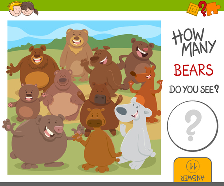 smart: Cartoon Illustration of Educational Counting Activity for Kids with Funny Bears Animal Characters Illustration