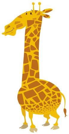 safari animal: Cartoon Illustration of Giraffe Safari Animal Character
