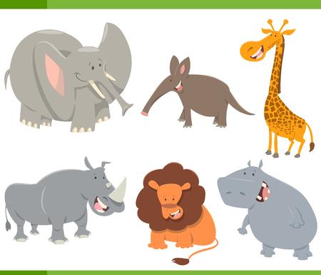 safari animal: Cartoon Illustration of Cute Safari Animal Characters Set
