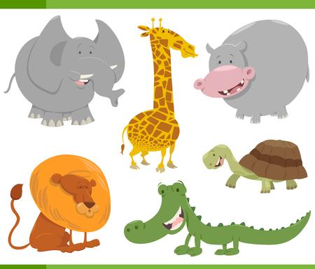 safari animal: Cartoon Illustration of Funny Safari Animal Characters Set