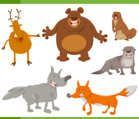 Cartoon Illustration of Funny Forest Animal Characters Set