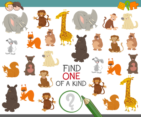 one animal: Cartoon Illustration of Find One of a Kind Educational Activity Game for Preschool Children with Cute Animal Characters