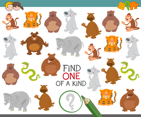 one animal: Cartoon Illustration of Find One of a Kind Educational Activity Game for Children with Animal Characters