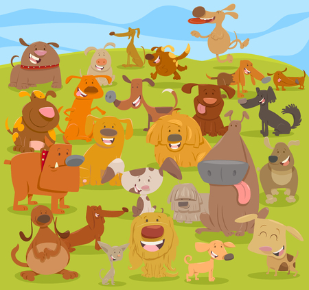 Cartoon Illustration of Cute Happy Dog Characters Group