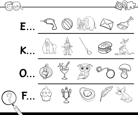 Cartoon Illustration of Finding Picture which Name Starts with Referred Letter Educational Activity for Kids for Coloring Çizim