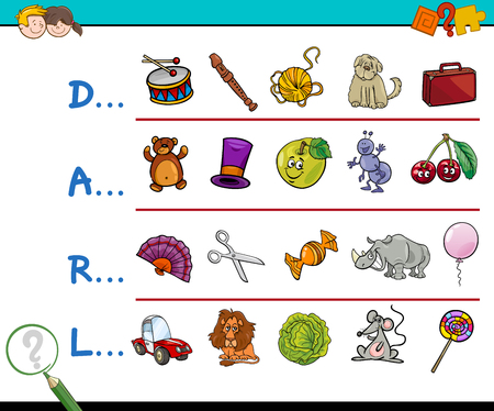 Cartoon Illustration of Finding Picture which Start with Referred Letter Educational Activity for Children Ilustrace