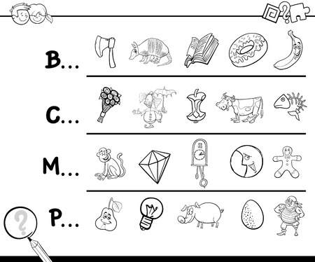 page layout: Cartoon Illustration of Finding Picture which Name Starts with Referred Letter Educational Activity for Children Coloring Page