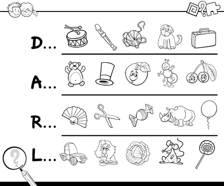 Cartoon Illustration of Finding Picture which Start with Referred Letter Educational Activity for Children Coloring Page Ilustrace