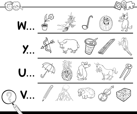 referidos: Cartoon Illustration of Finding Picture Starting with Referred Letter learning Game for Preschool kids Coloring