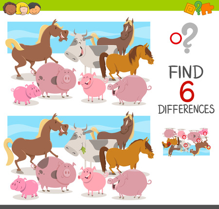 Cartoon Illustration of Spot the Differences Educational Game for Children with Cow and Pigs and Horses Farm Animal Characters Illustration