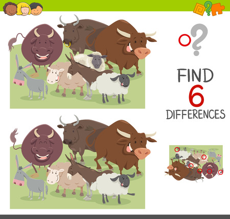 spot the difference: Cartoon Illustration of Spot the Differences Educational Game for Children with Bulls and Sheep and Donkeys Farm Animal Characters