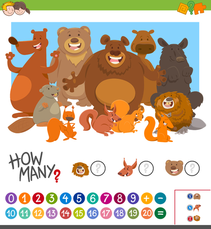 Cartoon Illustration of Educational Mathematical Game of Counting Animal Characters for Preschool Kids