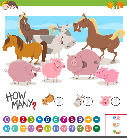 Cartoon Illustration of Educational Mathematical Activity Game of Counting Farm Animal Characters