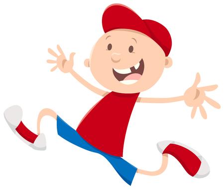Cartoon Illustration of Happy Snagle Tooth Running Boy
