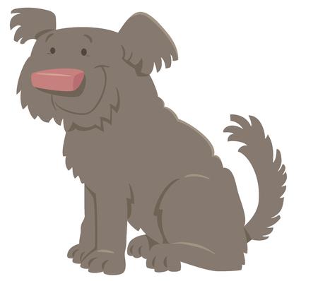 Cartoon Illustration of Cute Shaggy Dog Animal Character