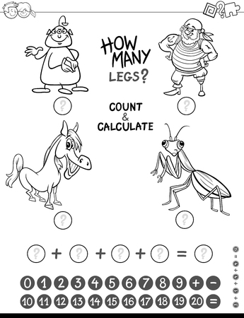 addition: Black and White Cartoon Illustration of Educational Mathematical Counting and Addition Game for Kids with Funny Characters Coloring Page